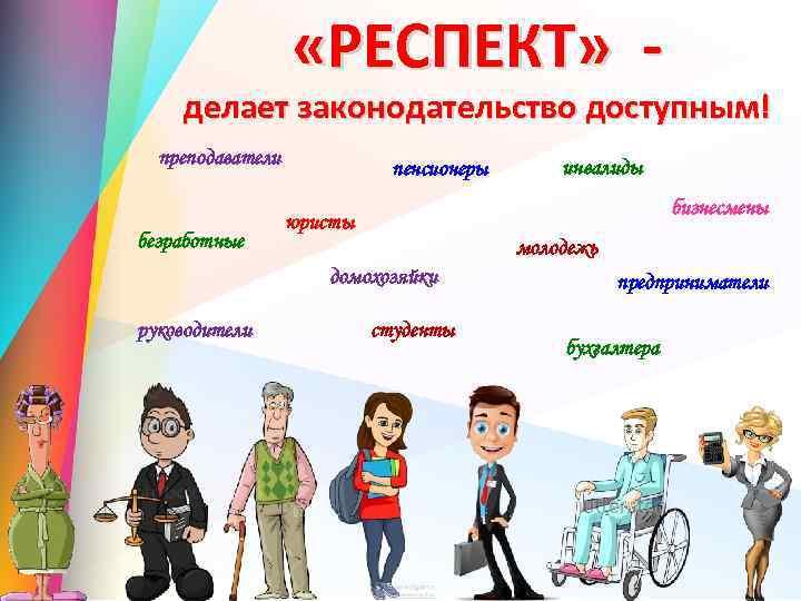 «РЕСПЕКТ» - делает законодательство доступным! преподаватели безработные пенсионеры бизнесмены юристы молодежь домохозяйки руководители