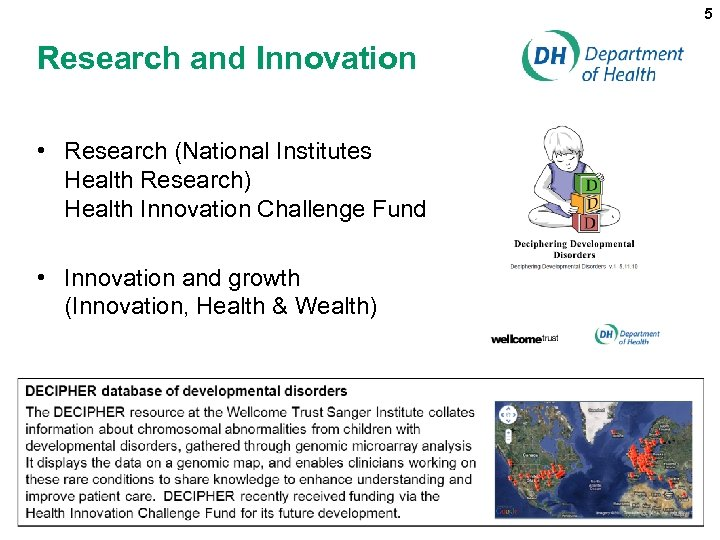 5 Research and Innovation • Research (National Institutes Health Research) Health Innovation Challenge Fund