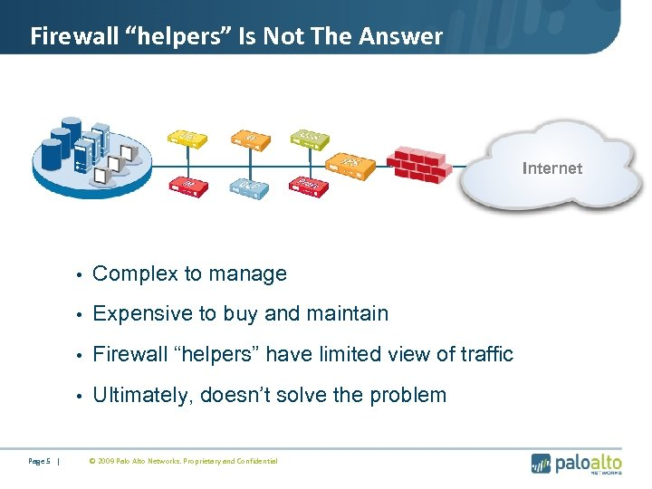 "Firewall ""helpers"" Is Not The Answer Internet • Complex to manage • Expensive to"