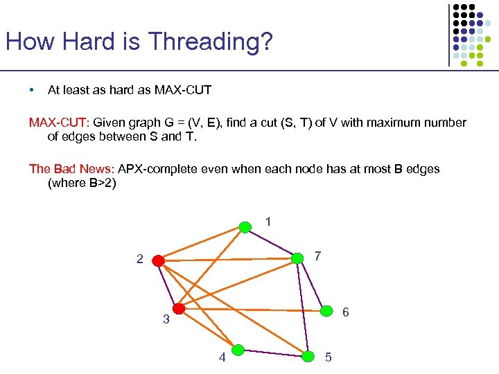 How Hard is Threading? • At least as hard as MAX-CUT: Given graph G