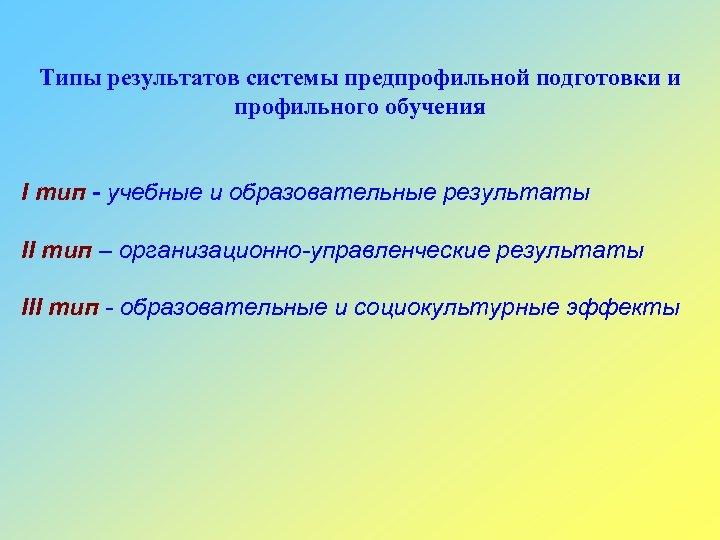 Типы результатов системы предпрофильной подготовки и профильного обучения I тип - учебные и образовательные