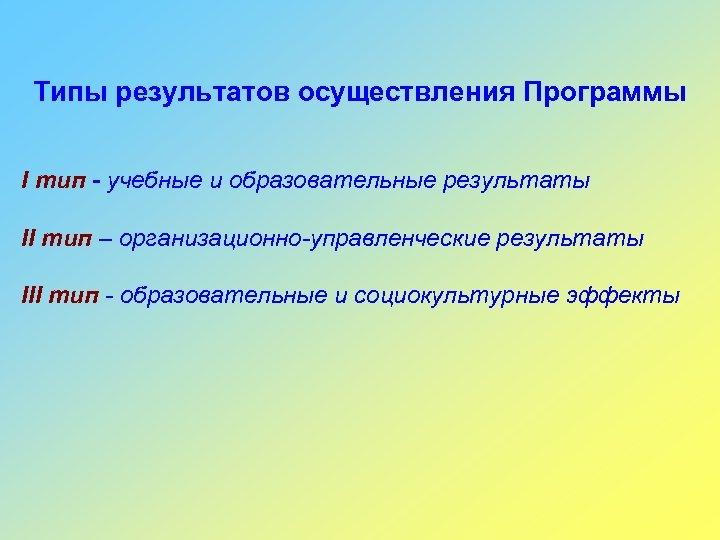 Типы результатов осуществления Программы I тип - учебные и образовательные результаты II тип –