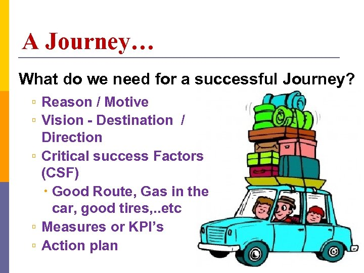A Journey… What do we need for a successful Journey? ▫ Reason / Motive