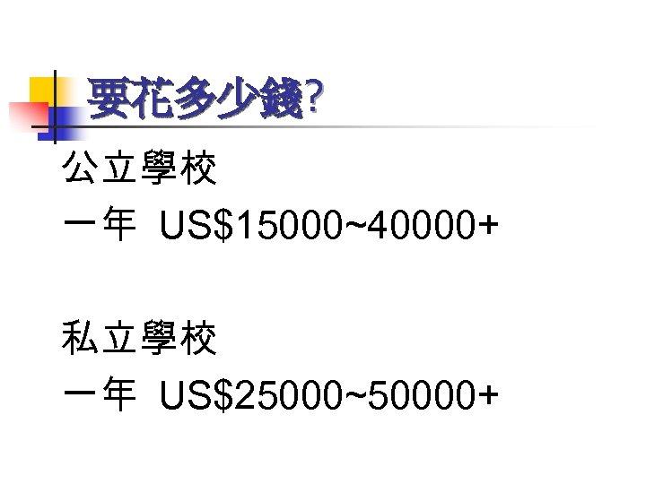 要花多少錢? 公立學校 一年 US$15000~40000+ 私立學校 一年 US$25000~50000+