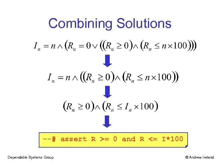 Combining Solutions --# assert R >= 0 and R <= I*100 Dependable Systems Group