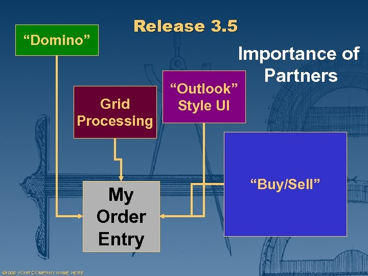 """Domino"" Release 3. 5 Importance of Partners Grid Processing My Order Entry © 1998"