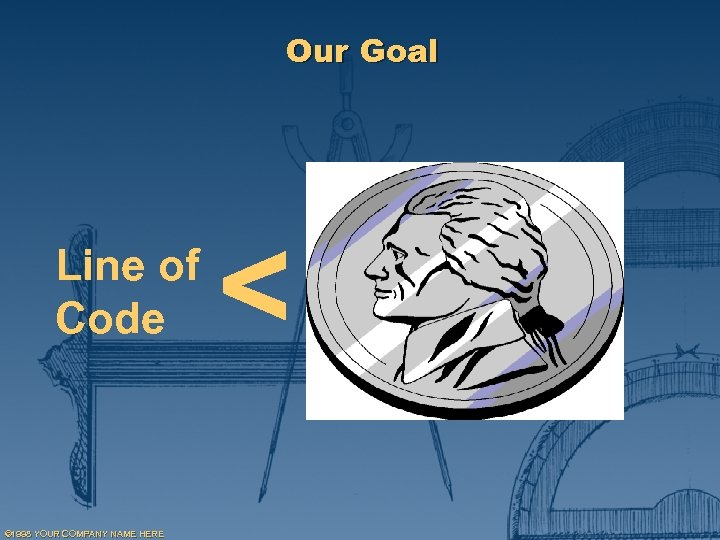 Our Goal Line of Code © 1998 YOUR COMPANY NAME HERE <
