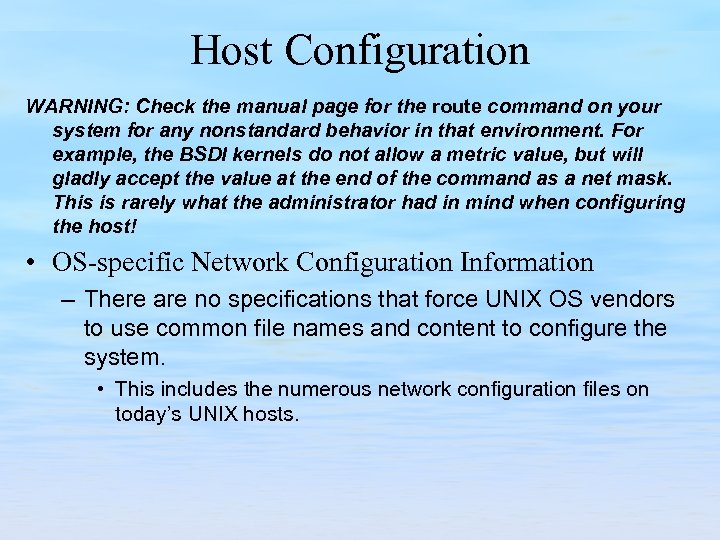 Host Configuration WARNING: Check the manual page for the route command on your system