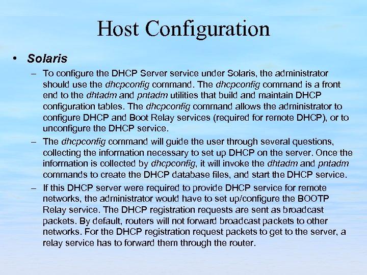 Host Configuration • Solaris – To configure the DHCP Server service under Solaris, the
