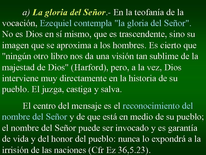a) La gloria del Señor. - En la teofanía de la vocación, Ezequiel contempla