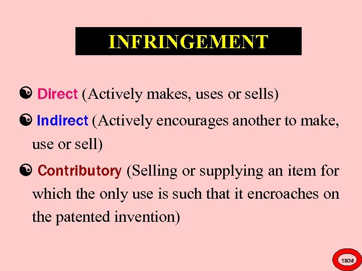 INFRINGEMENT Direct (Actively makes, uses or sells) Indirect (Actively encourages another to make, use