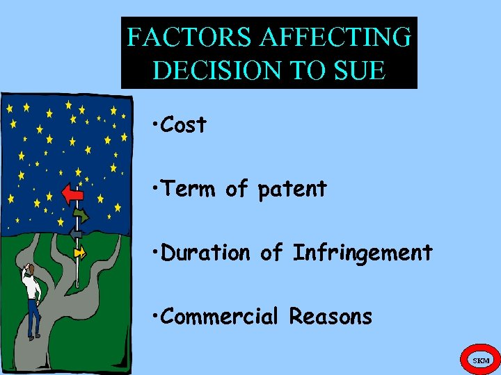 FACTORS AFFECTING DECISION TO SUE • Cost • Term of patent • Duration of