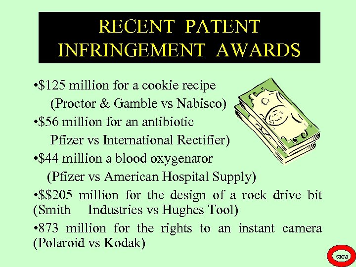RECENT PATENT INFRINGEMENT AWARDS • $125 million for a cookie recipe (Proctor & Gamble