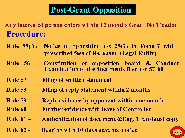 Post-Grant Opposition Any interested person enters within 12 months Grant Notification Procedure: Rule 55(A)