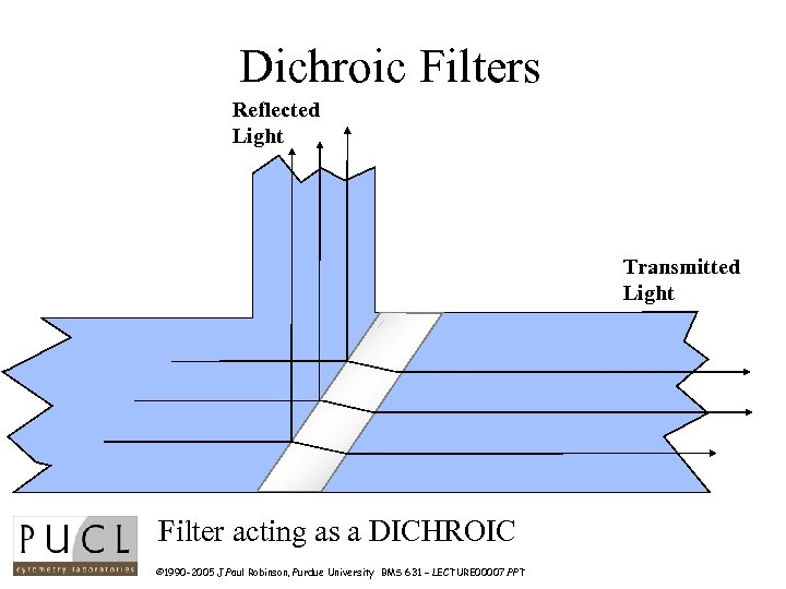 Dichroic Filters Reflected Light Transmitted Light Filter acting as a DICHROIC © 1990 -2005