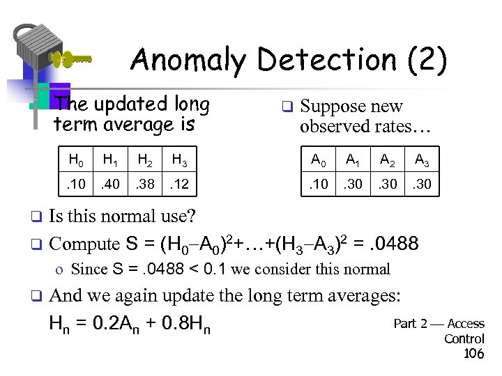 Anomaly Detection (2) • The updated long term average is q Suppose new observed