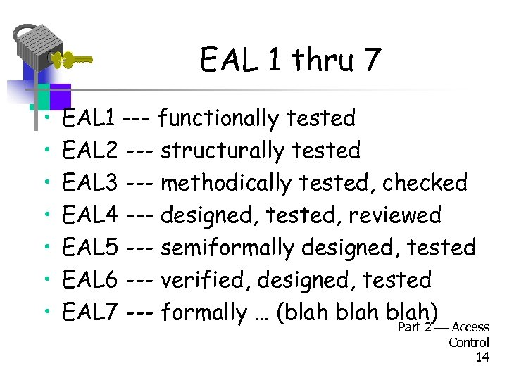 EAL 1 thru 7 • • EAL 1 --- functionally tested EAL 2 ---