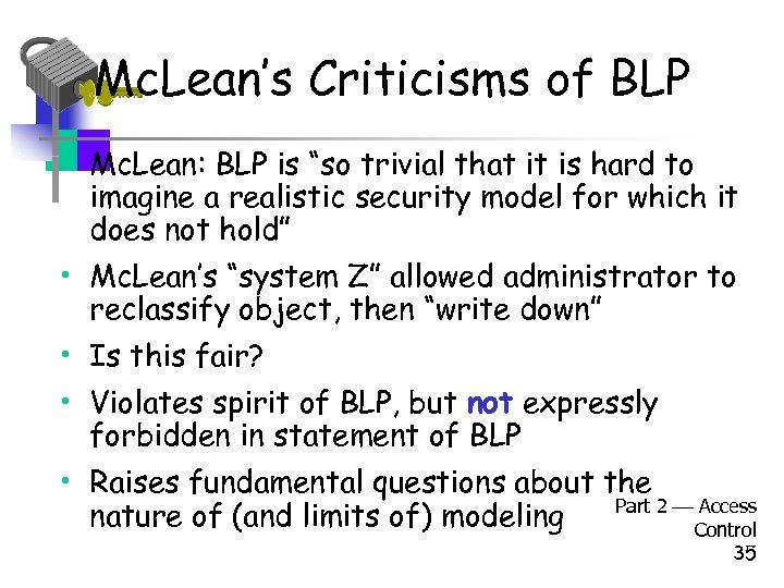 "Mc. Lean's Criticisms of BLP • Mc. Lean: BLP is ""so trivial that it"