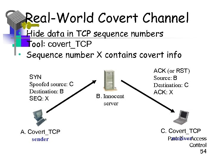 Real-World Covert Channel • Hide data in TCP sequence numbers • Tool: covert_TCP •