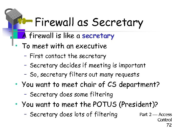 Firewall as Secretary • A firewall is like a secretary • To meet with