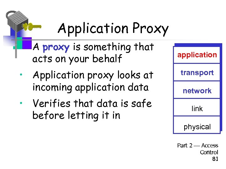 Application Proxy • A proxy is something that acts on your behalf • Application