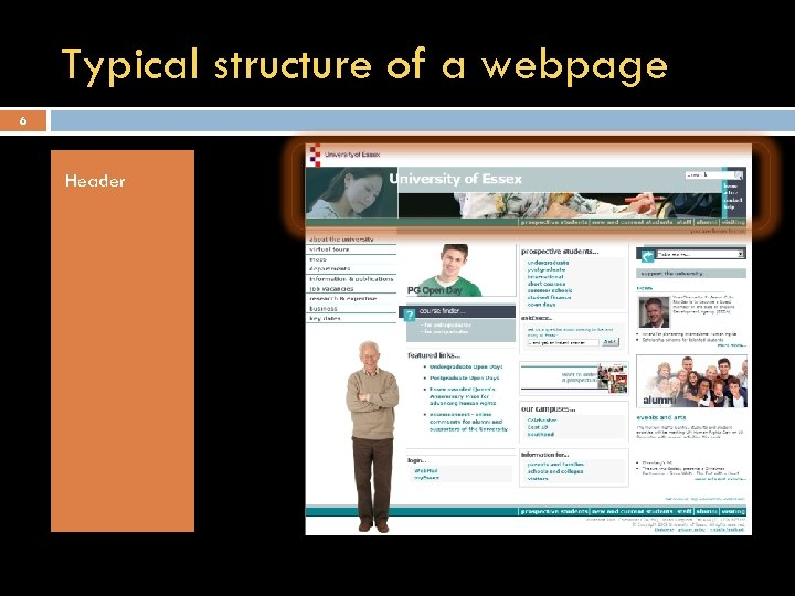 Typical structure of a webpage 6 Header