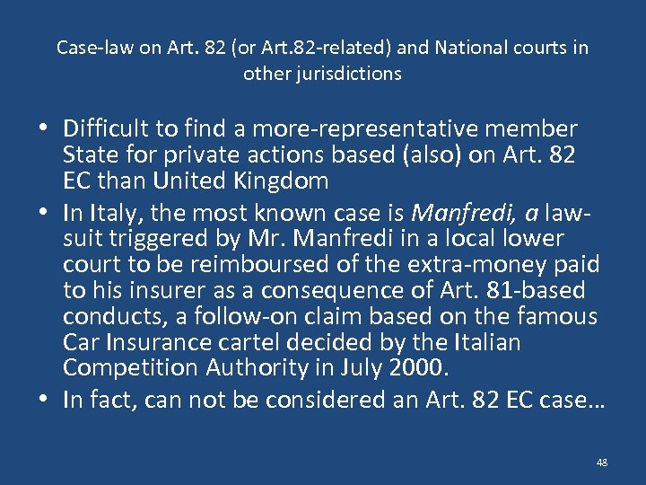 Case-law on Art. 82 (or Art. 82 -related) and National courts in other jurisdictions