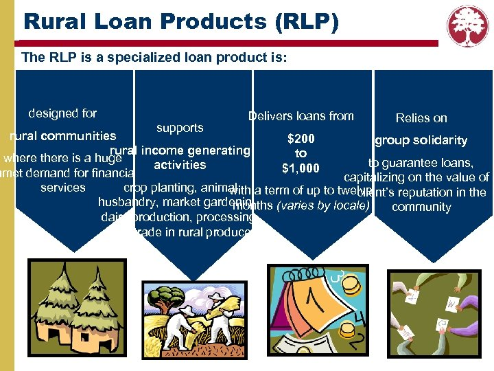 Rural Loan Products (RLP) The RLP is a specialized loan product is: designed for