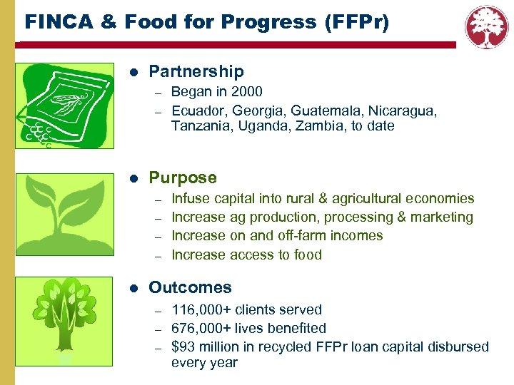 FINCA & Food for Progress (FFPr) l Partnership – – l Purpose – –