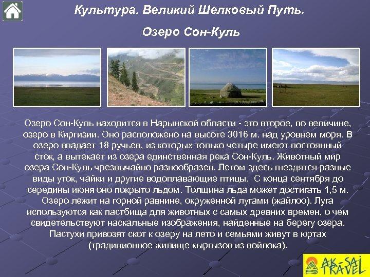 Культура. Великий Шелковый Путь. Озеро Сон-Куль находится в Нарынской области - это второе, по