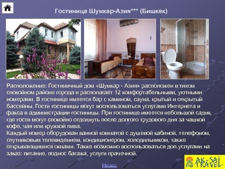Гостиница Шумкар-Азия*** (Бишкек) Расположение: Гостиничный дом «Шумкар - Азия» расположен в тихом спокойном районе