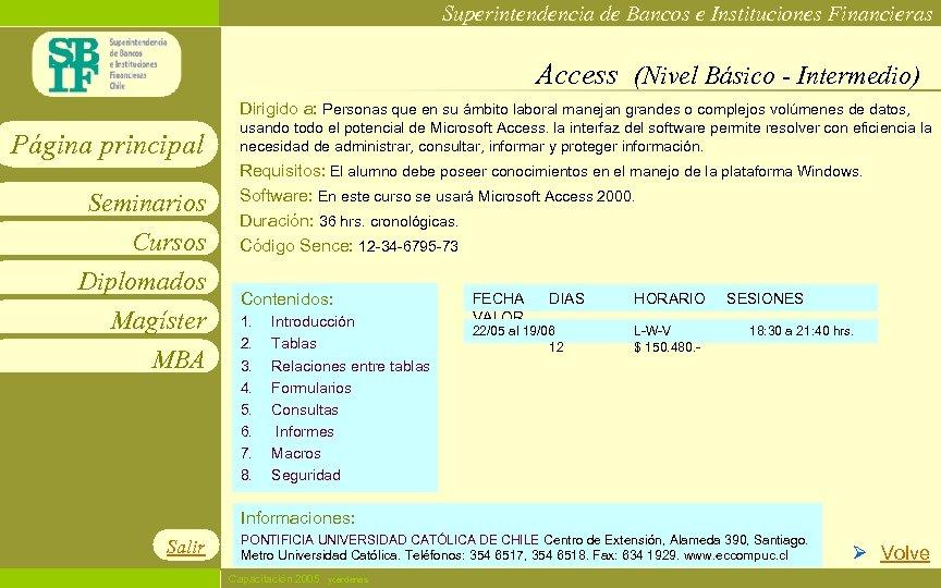 Superintendencia de Bancos e Instituciones Financieras Access (Nivel Básico - Intermedio) Dirigido a: Personas