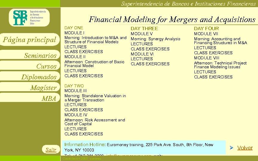Superintendencia de Bancos e Instituciones Financieras Financial Modeling for Mergers and Acquisitions Página principal