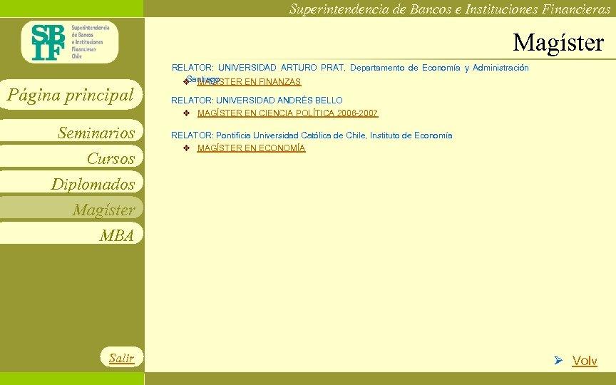 Superintendencia de Bancos e Instituciones Financieras Magíster Página principal Seminarios Cursos Diplomados Magíster MBA