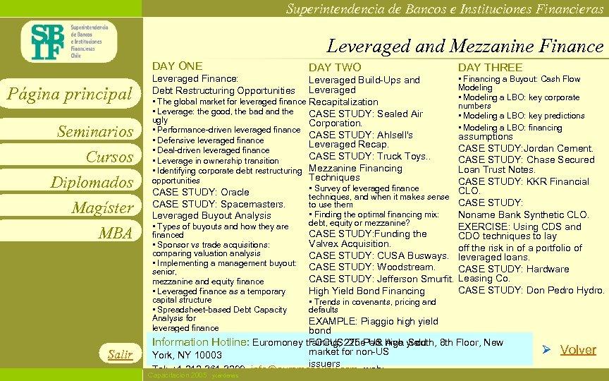 Superintendencia de Bancos e Instituciones Financieras Leveraged and Mezzanine Finance DAY ONE Página principal