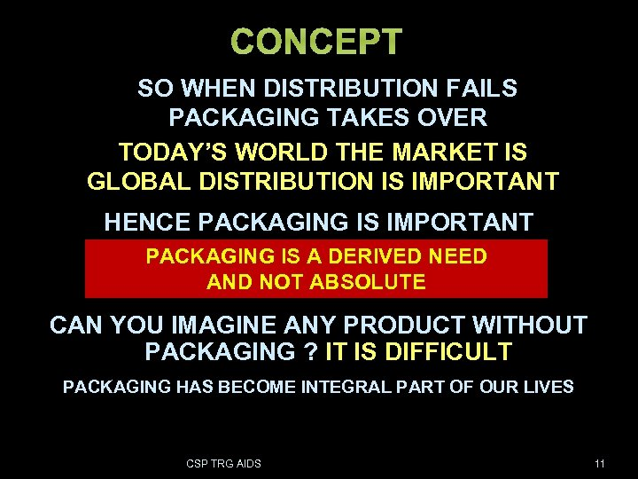 CONCEPT SO WHEN DISTRIBUTION FAILS PACKAGING TAKES OVER TODAY'S WORLD THE MARKET IS GLOBAL