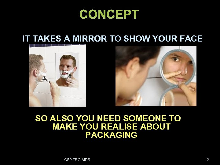 CONCEPT IT TAKES A MIRROR TO SHOW YOUR FACE SO ALSO YOU NEED SOMEONE