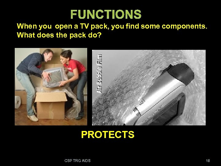 FUNCTIONS When you open a TV pack, you find some components. What does the