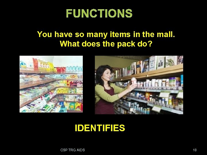 FUNCTIONS You have so many items in the mall. What does the pack do?