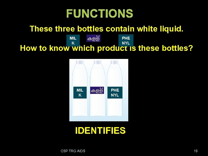 FUNCTIONS These three bottles contain white liquid. PHE NYL MIL K How to know