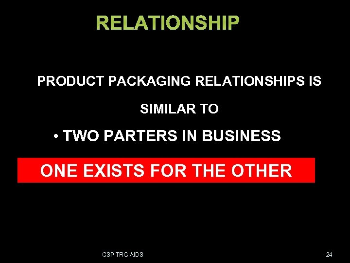 RELATIONSHIP PRODUCT PACKAGING RELATIONSHIPS IS SIMILAR TO • TWO PARTERS IN BUSINESS • HUSBAND
