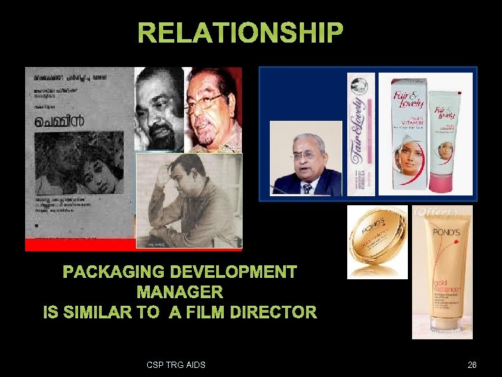 RELATIONSHIP PACKAGING DEVELOPMENT MANAGER IS SIMILAR TO A FILM DIRECTOR CSP TRG AIDS 26