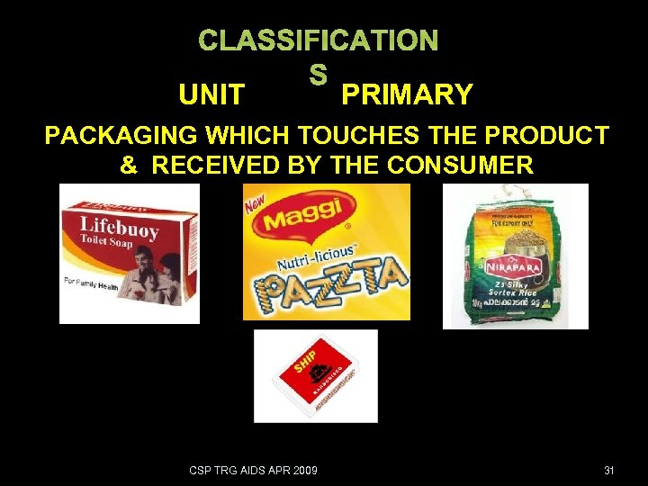 CLASSIFICATION S UNIT PRIMARY PACKAGING WHICH TOUCHES THE PRODUCT & RECEIVED BY THE CONSUMER