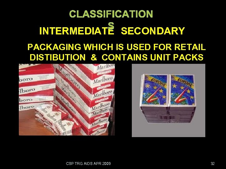 CLASSIFICATION S INTERMEDIATE SECONDARY PACKAGING WHICH IS USED FOR RETAIL DISTIBUTION & CONTAINS UNIT