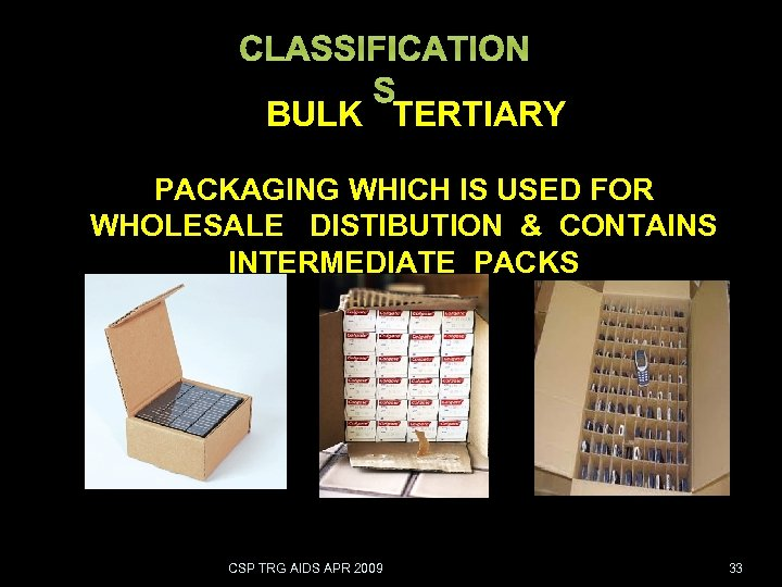CLASSIFICATION S BULK TERTIARY PACKAGING WHICH IS USED FOR WHOLESALE DISTIBUTION & CONTAINS INTERMEDIATE