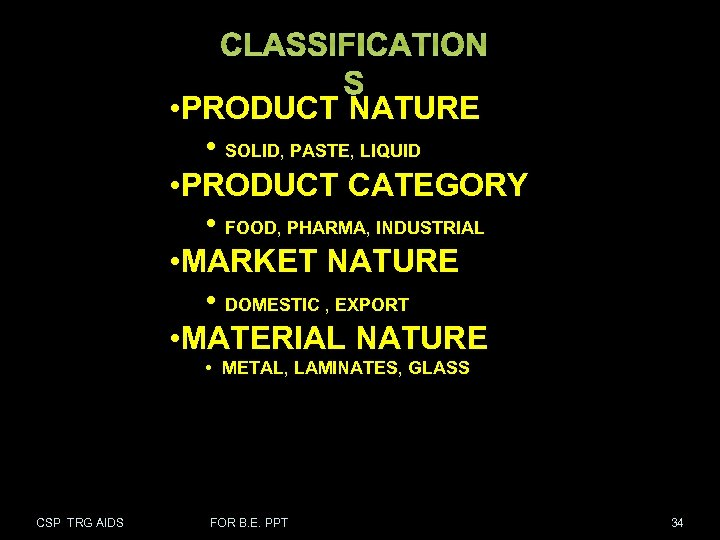CLASSIFICATION S • PRODUCT NATURE • SOLID, PASTE, LIQUID • PRODUCT CATEGORY • FOOD,