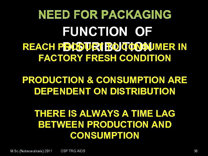 NEED FOR PACKAGING FUNCTION OF REACH PRODUCT TO CONSUMER IN DISTRIBUTION FACTORY FRESH CONDITION