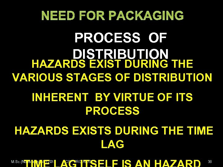 NEED FOR PACKAGING PROCESS OF DISTRIBUTION HAZARDS EXIST DURING THE VARIOUS STAGES OF DISTRIBUTION