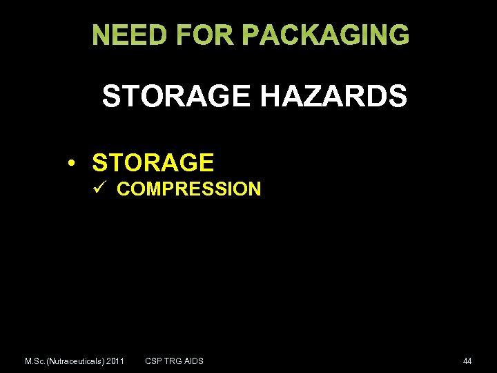 NEED FOR PACKAGING STORAGE HAZARDS • STORAGE ü COMPRESSION M. Sc. (Nutraceuticals) 2011 CSP