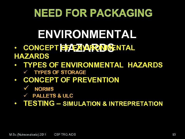 NEED FOR PACKAGING ENVIRONMENTAL CONCEPT HAZARDS OF ENVIRONMENTAL • HAZARDS • TYPES OF ENVIRONMENTAL